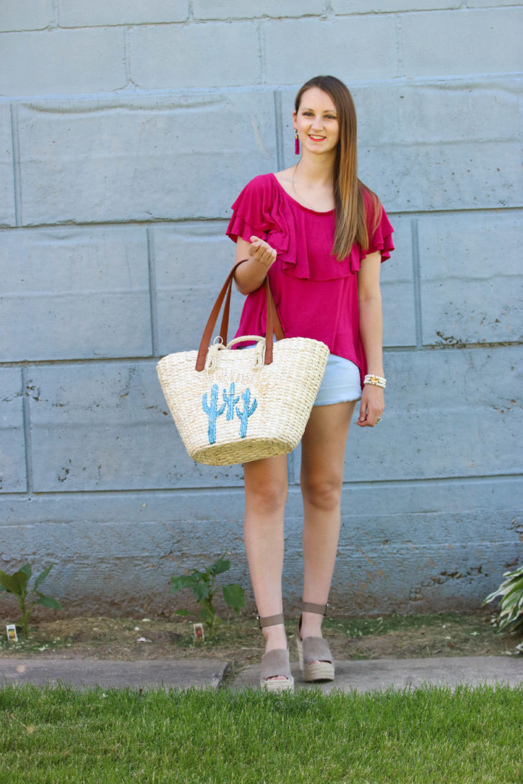 for the love of glitter, ruffle top, Marc Fisher wedges, summer style, women's fashion