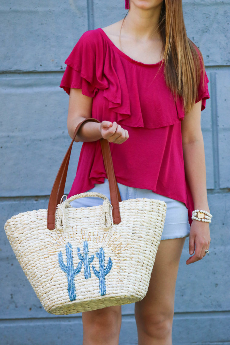 Fuschia Ruffle Top From Free People