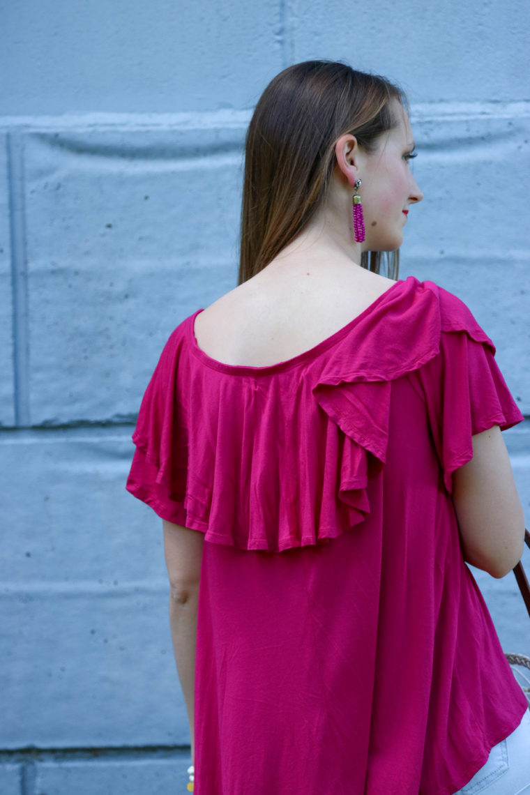 for the love of glitter, ruffle top, tassel earrings, summer style, women's fashion