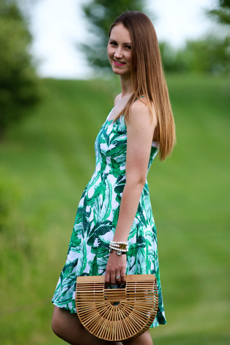 for the love of glitter, palm print dress, Cult Gaia bag, summer style, women's fashion