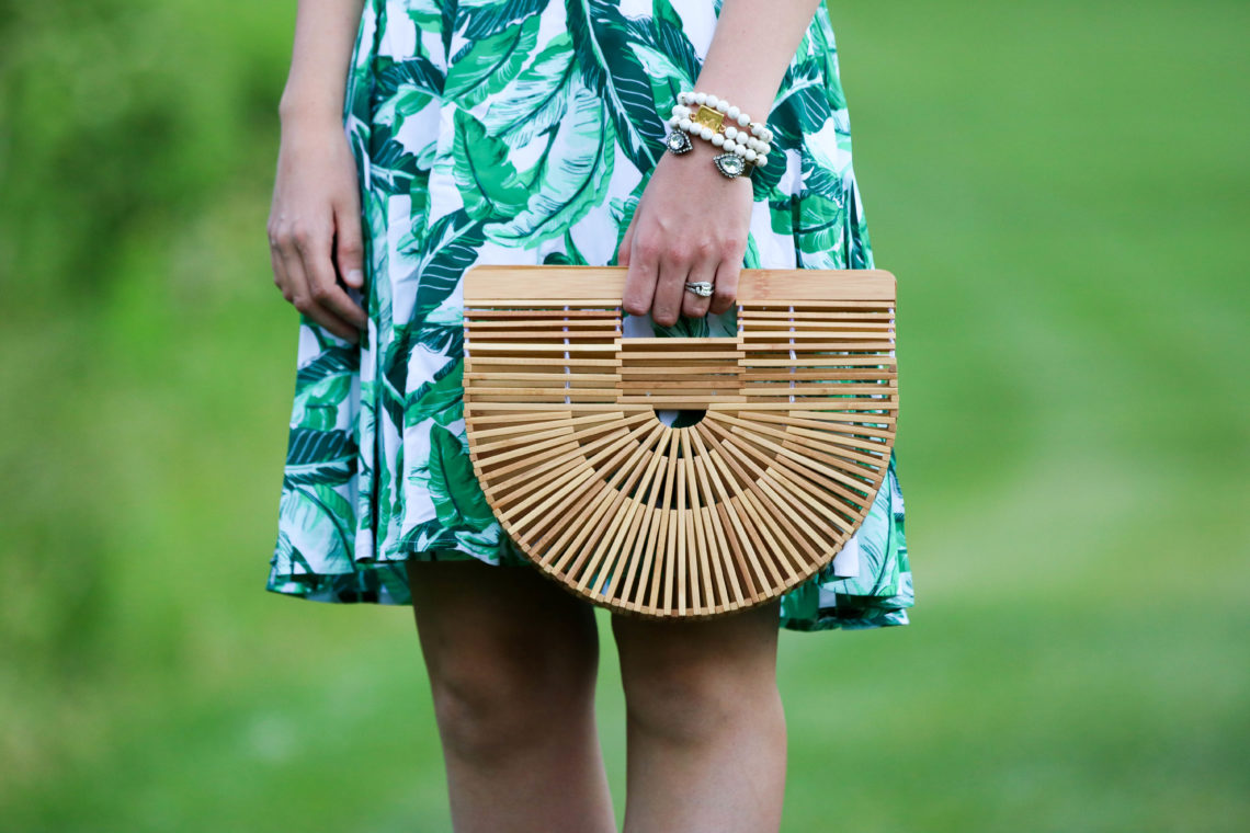 for the love of glitter, bamboo clutch, palm print dress, summer style, women's fashion