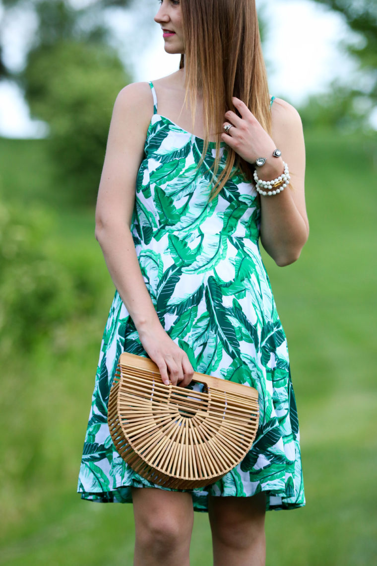 for the love of glitter, palm print dress, bamboo bag, summer style, women's fashion