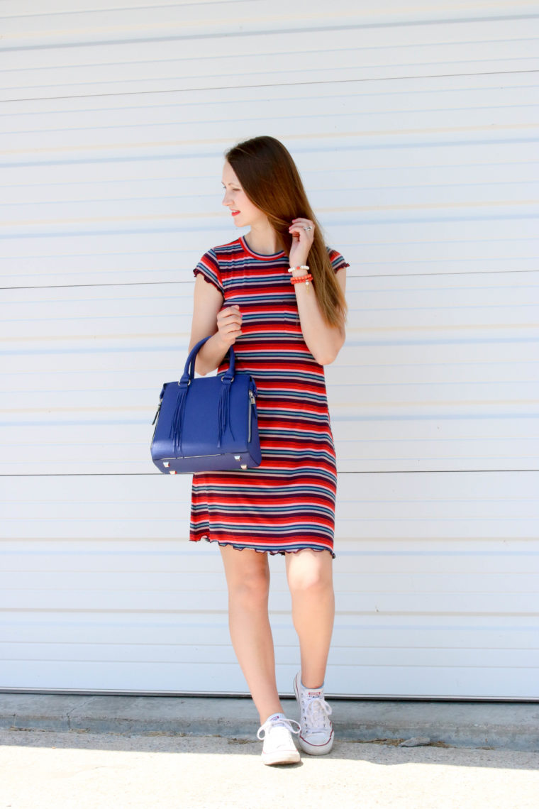 for the love of glitter, stripe dress, blue bag, spring style