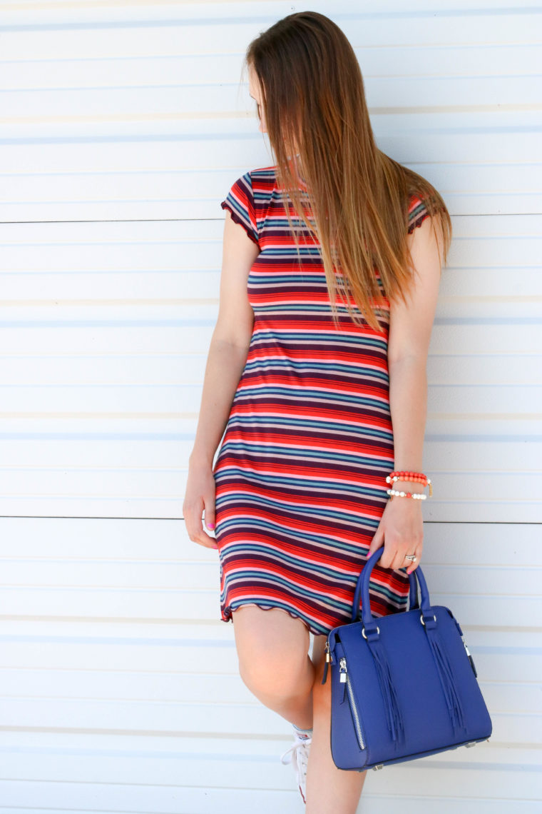 for the love of glitter, strip dress. t-shirt dress, spring style, women's fashion