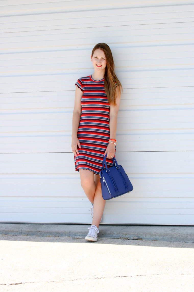 for the love of glitter, t-shirt dress, stripe dress, spring style, women's fashion