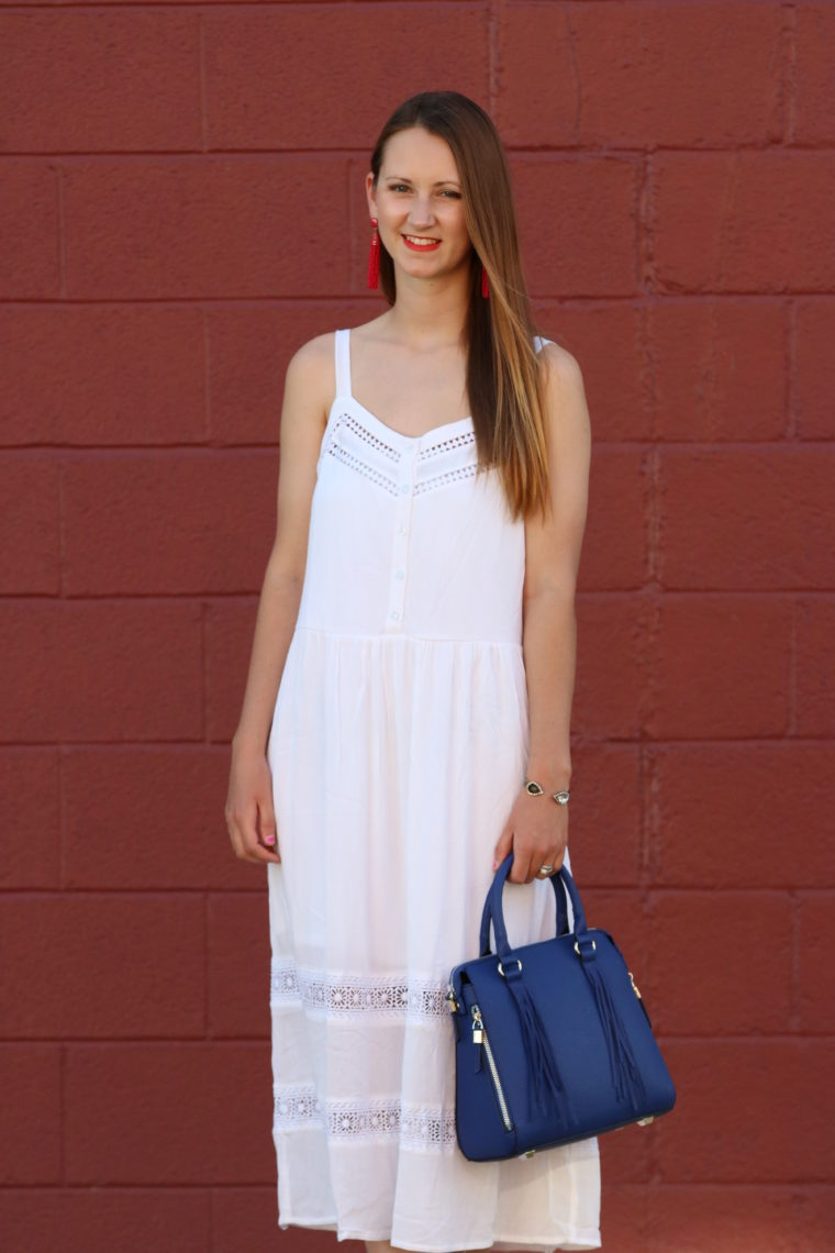 for the love of glitter, white midi dress, 4th of July look. summer style