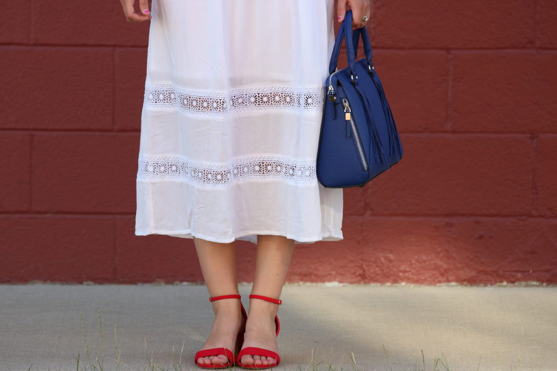 for the love of glitter, eyelet midi dress, red block heels, summer style