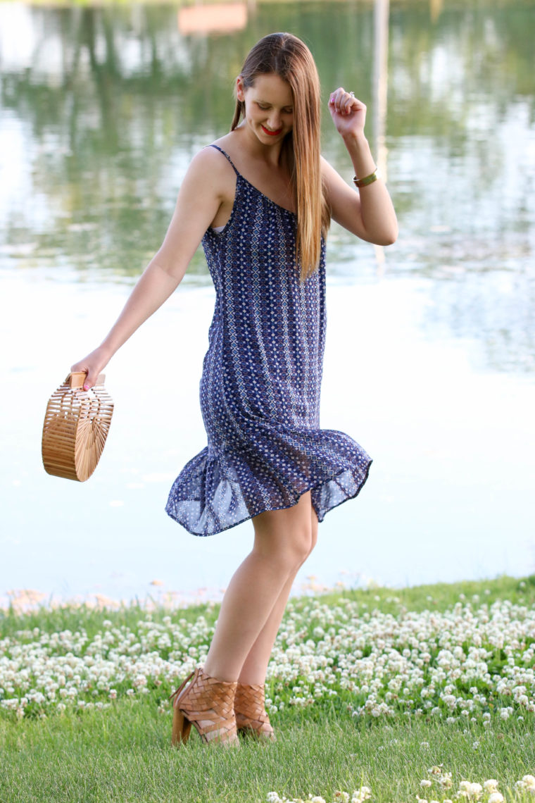 Purple Needle Print Dress