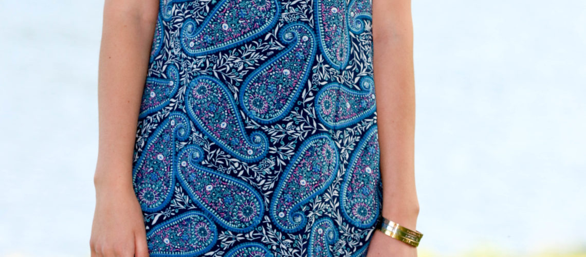 Blue Paisley Lace Up Shift Dress