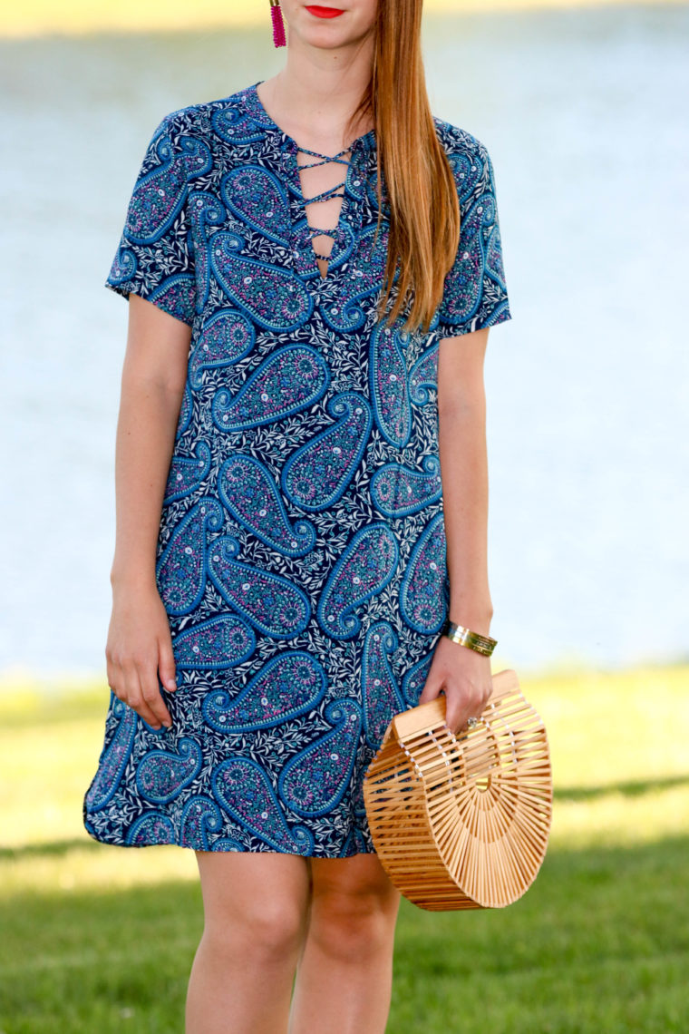for the love of glitter, paisley dress, bamboo bag, summer style, women's fashion