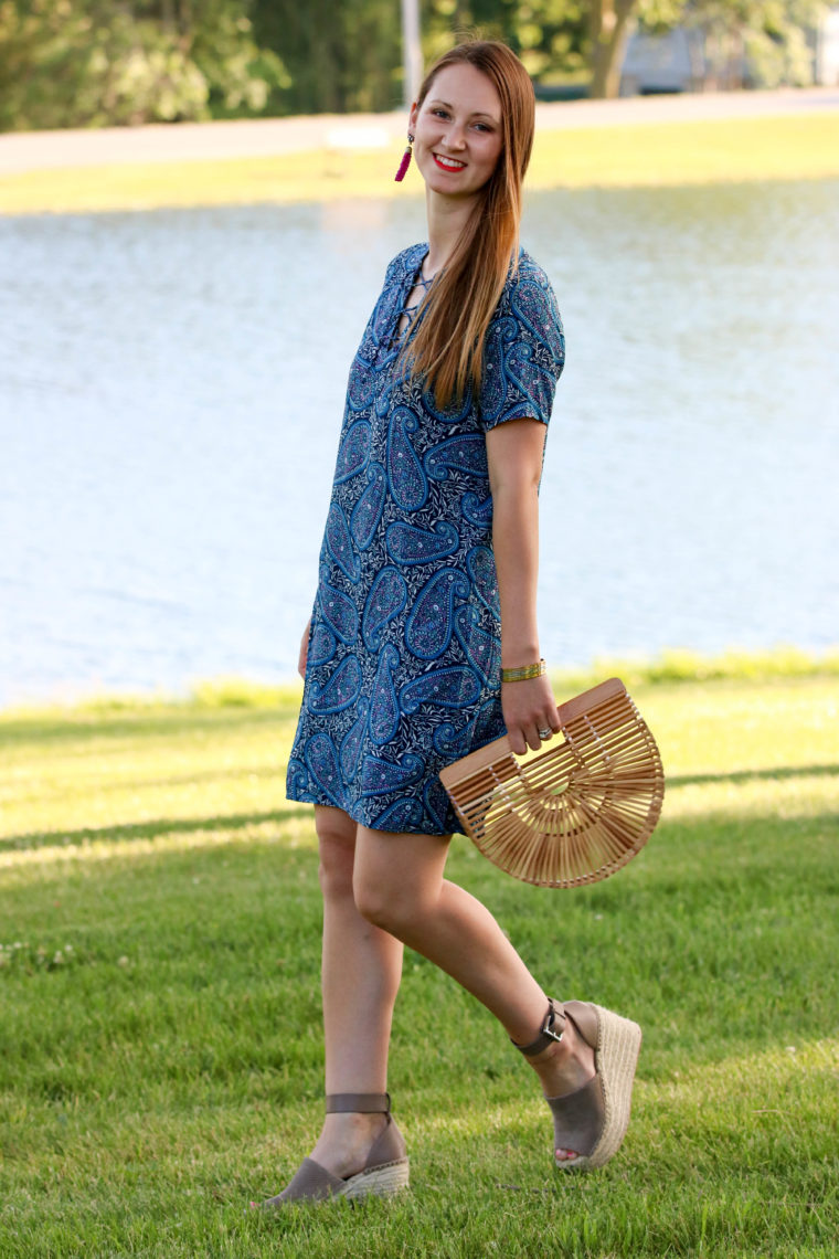 for the love of glitter, Marc Fisher wedges, shift dress, summer style, women's fashion