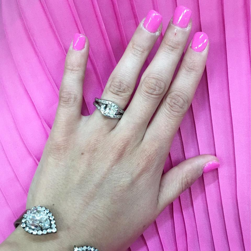 for the love of glitter, sns powder dip nails, pink nails, sarra cuff bracelet, pleated dress