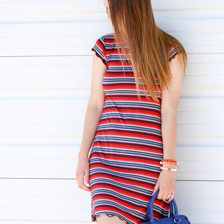 for the love of glitter, scallop dress, stripe dress, summer style