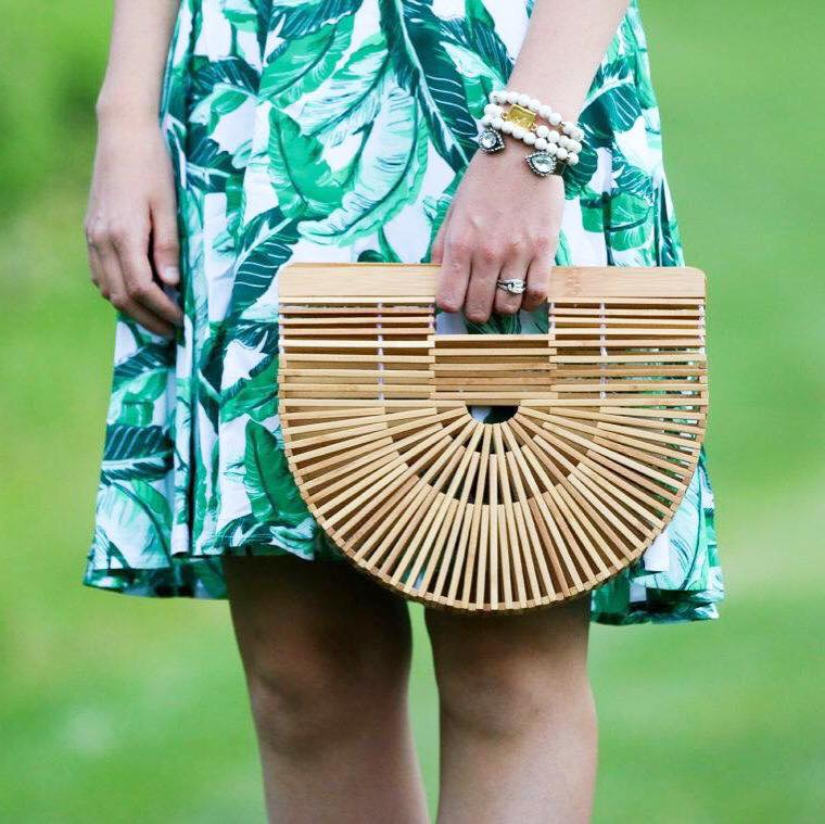 for the love of glitter, Cult Gaia bag, bamboo bag, palm print dress