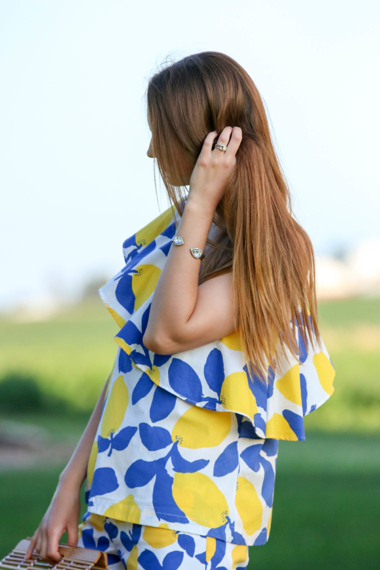 for the love of glitter, lemon top, Loren Hope sarra cuff, summer style