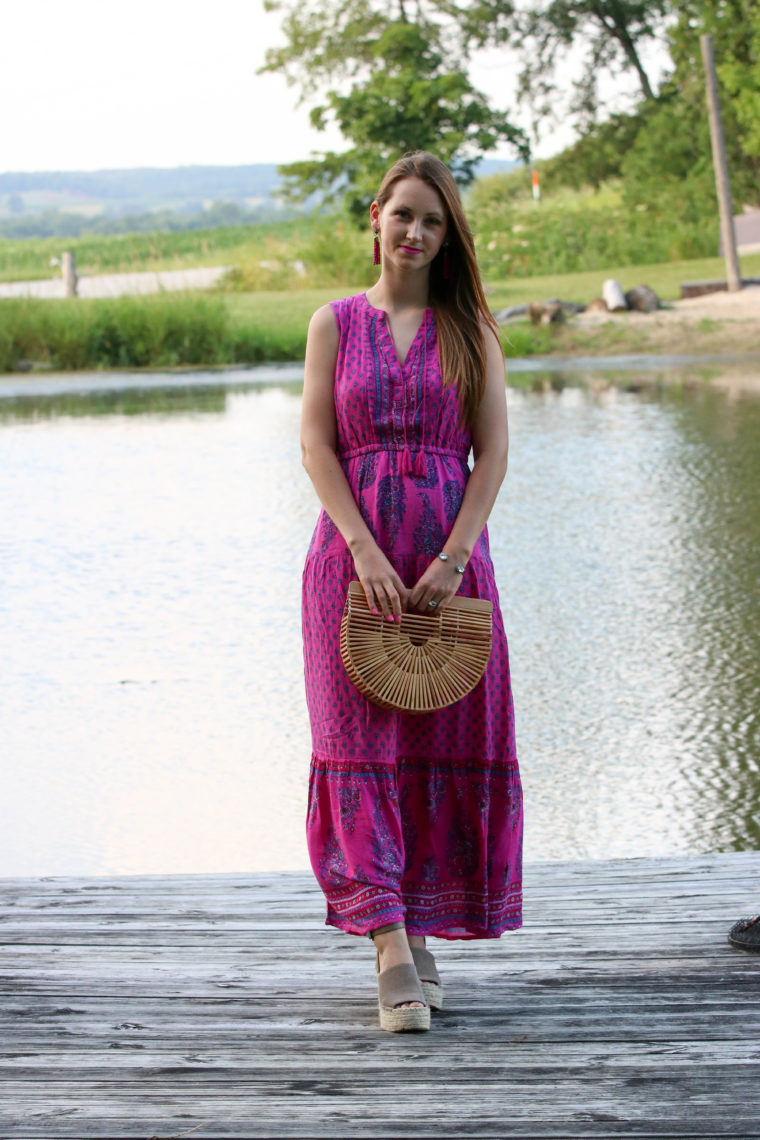 for the love of glitter, maxi dress, summer style, bamboo clutch