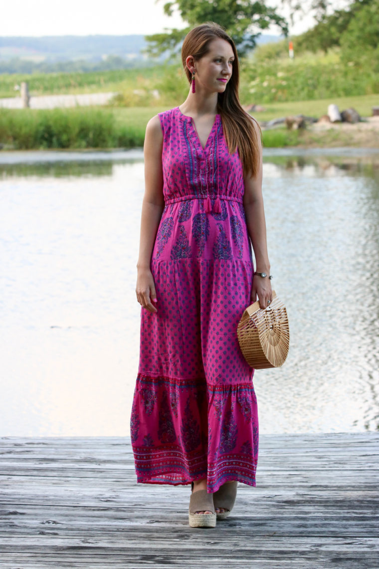 for the love of glitter, tiered maxi dress, summer style, bamboo bag