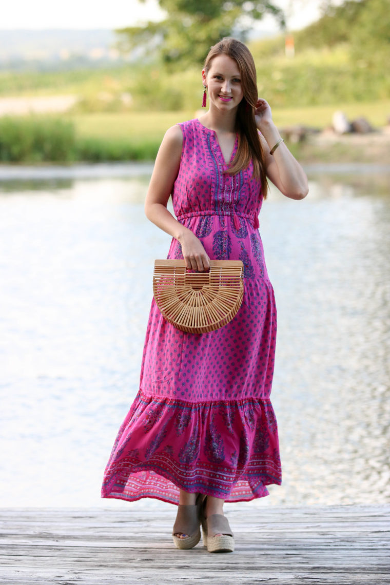for the love of glitter, tiered maxi dress, summer style, bamboo clutch