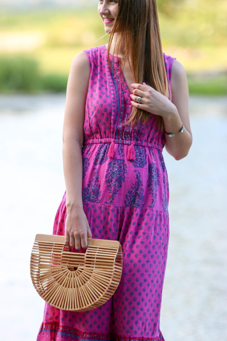 for the love of glitter, tiered maxi dress, bamboo clutch, summer style
