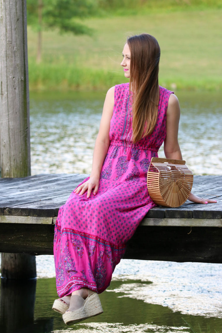 for the love of glitter, maxi dress, Marc Fisher wedges, summer style, bamboo clutch