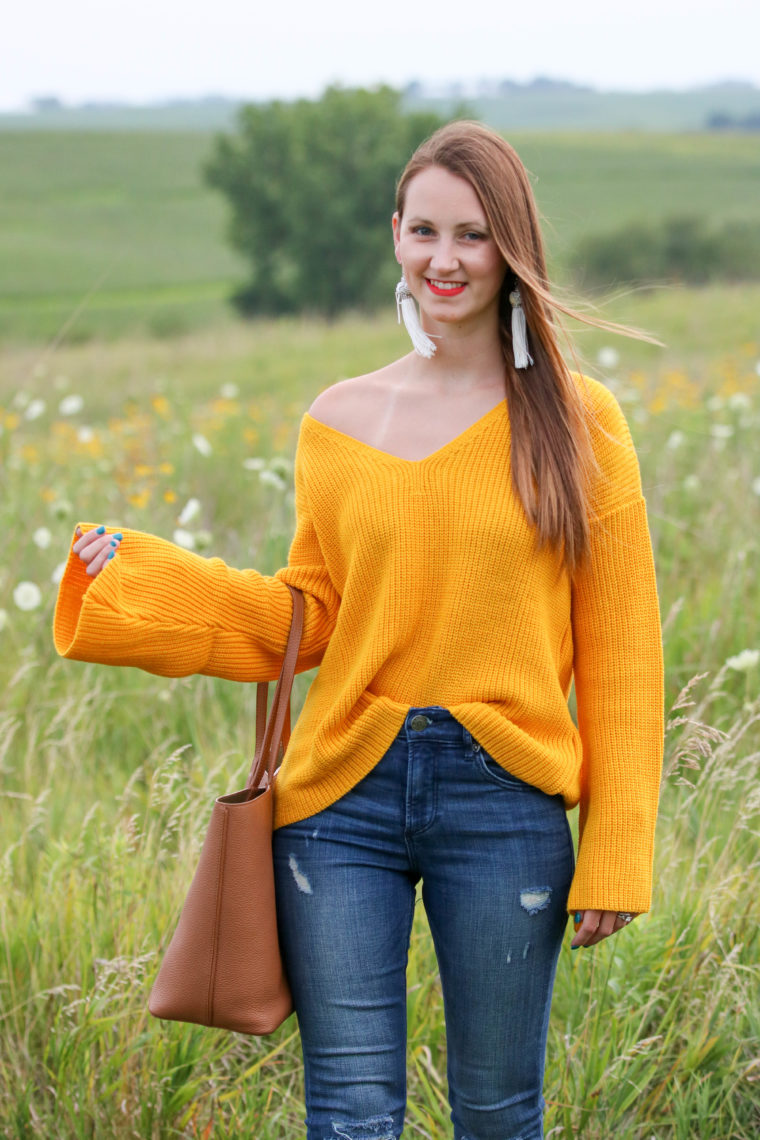 for the love of glitter, bell sleeve sweater, yellow sweater, fall style