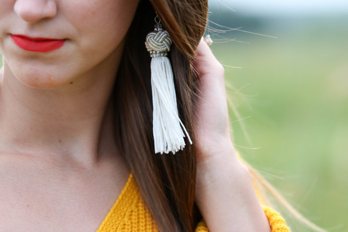 for the love of glitter, tassel earrings, statement earrings, women's fashion