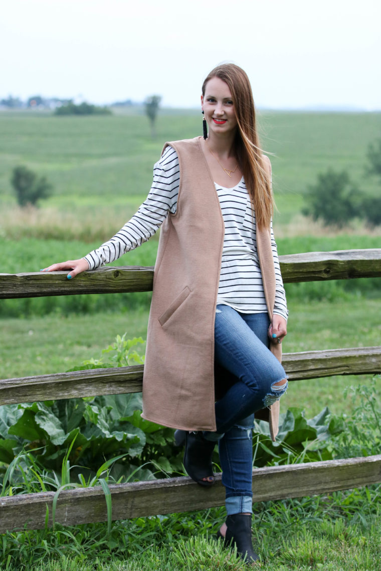for the love of glitter, stripe long sleeve, camel vest, fall style