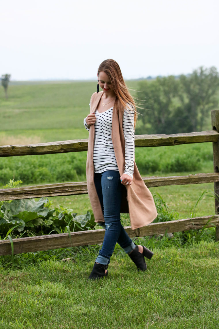 for the love of glitter, long vest, stripe tee, fall style, black booties