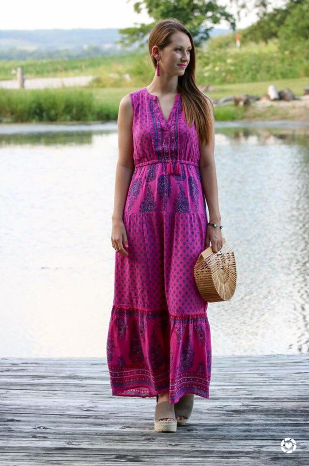 for the love of glitter, magenta maxi dress, Cult Gaia bag, summer style