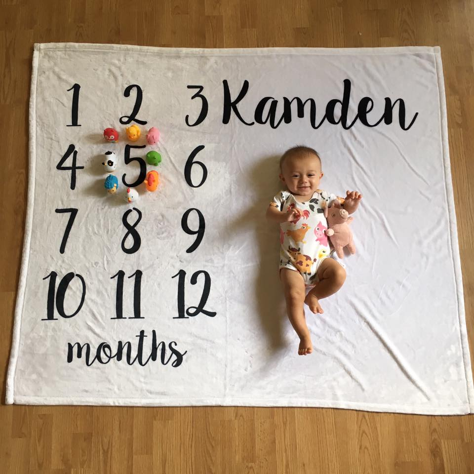month by month blanket, 5 months old farm animals onesie