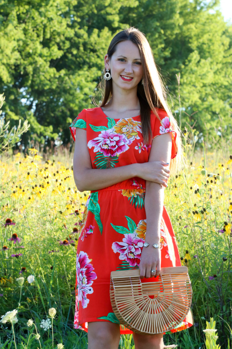 for the love of glitter, floral dress, bamboo bag, summer style, flower field, women's fashion