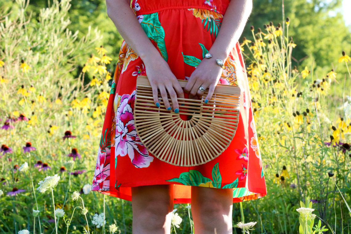 for the love of glitter, floral dress, Cult Gaia bag, summer style, women's fashion