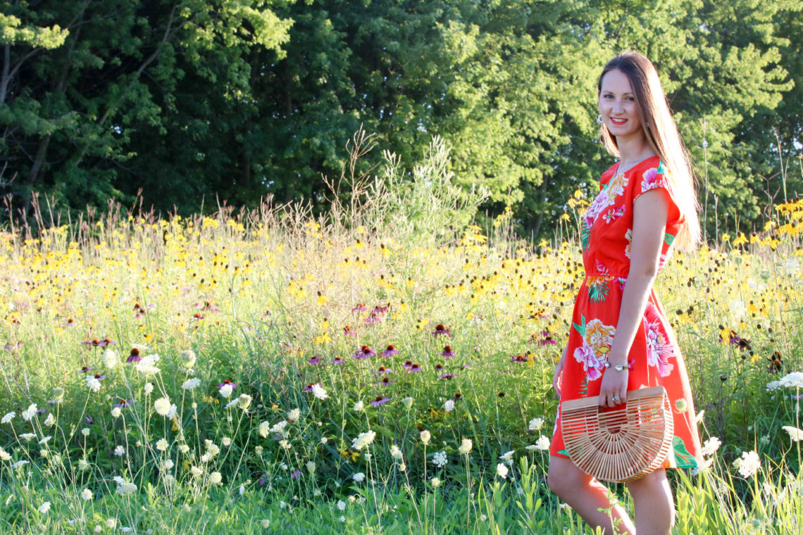 for the love of glitter, floral dress, summer style, Cult Gaia bag, women's fashion