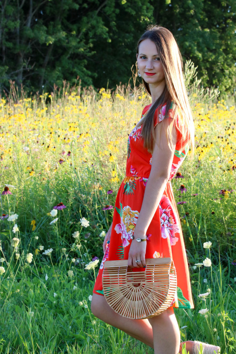 for the love of glitter, floral dress, Cult Gaia bag, summer style