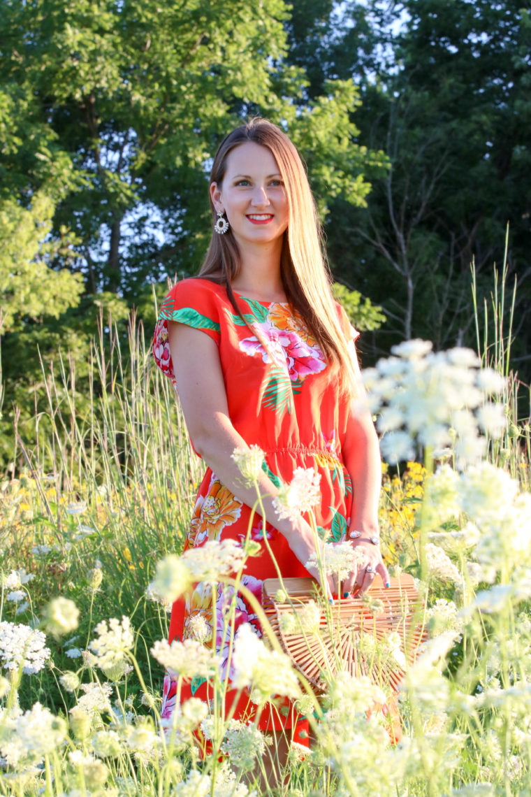 for the love of glitter, floral dress, wild flower field, summer style, women's fashion