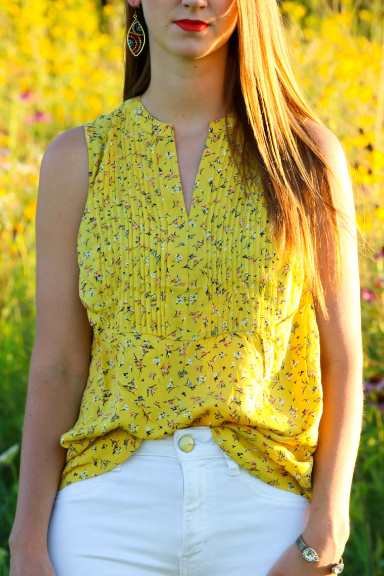 for the love of glitter, floral tank, summer style, yellow top