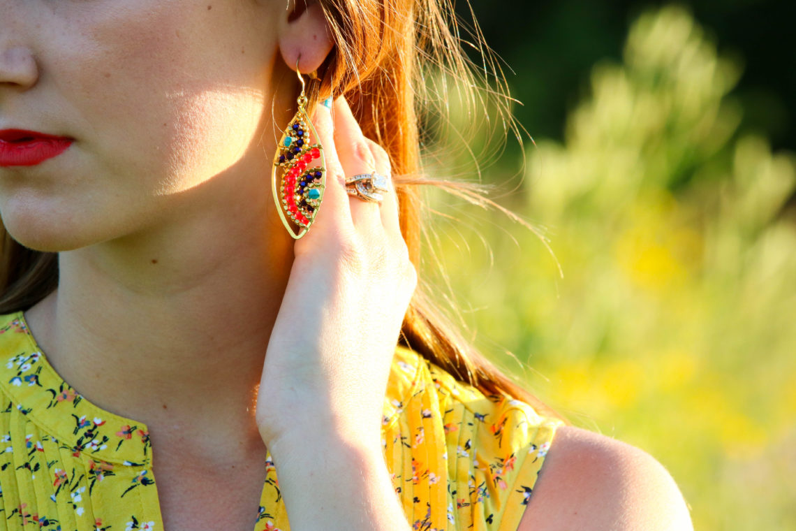 for the love of glitter, yellow top, summer style, statement earrings