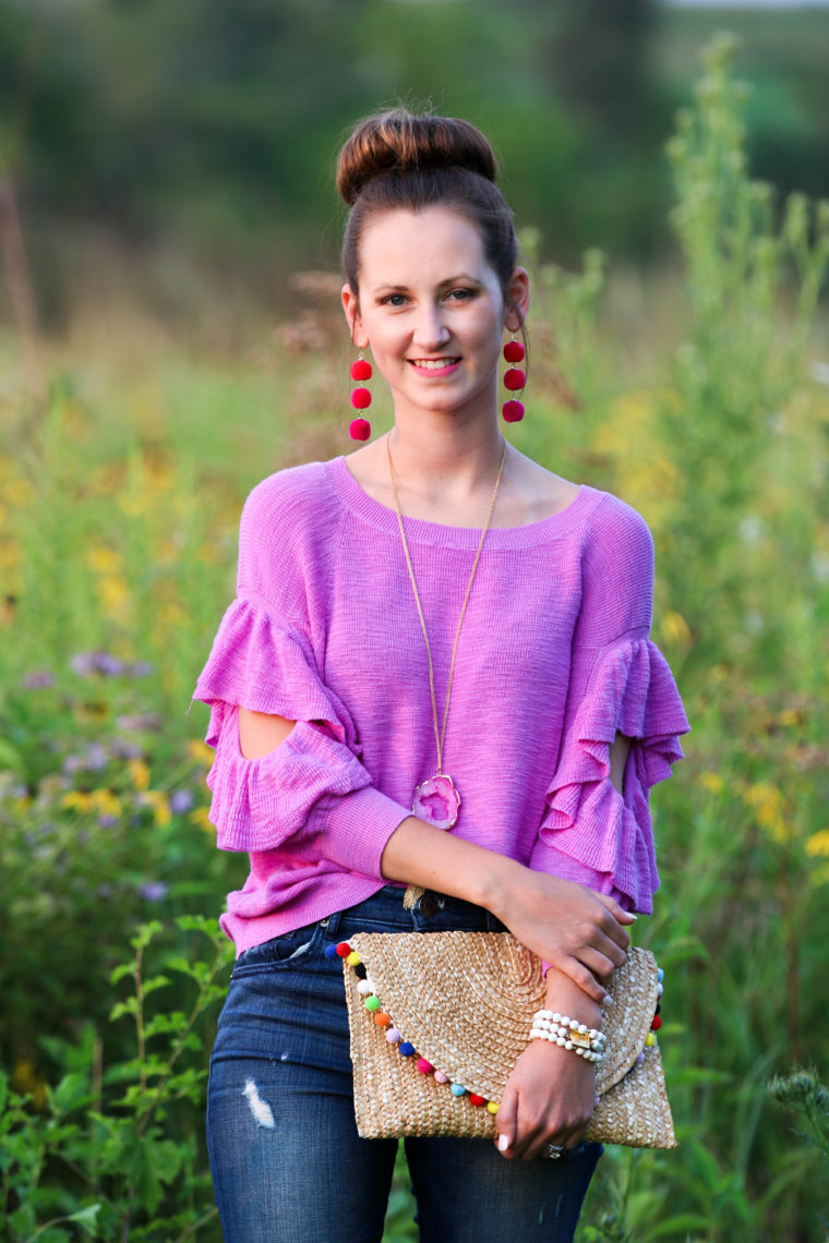 for the love of glitter, magenta sweater, ruffle sweater, fall style