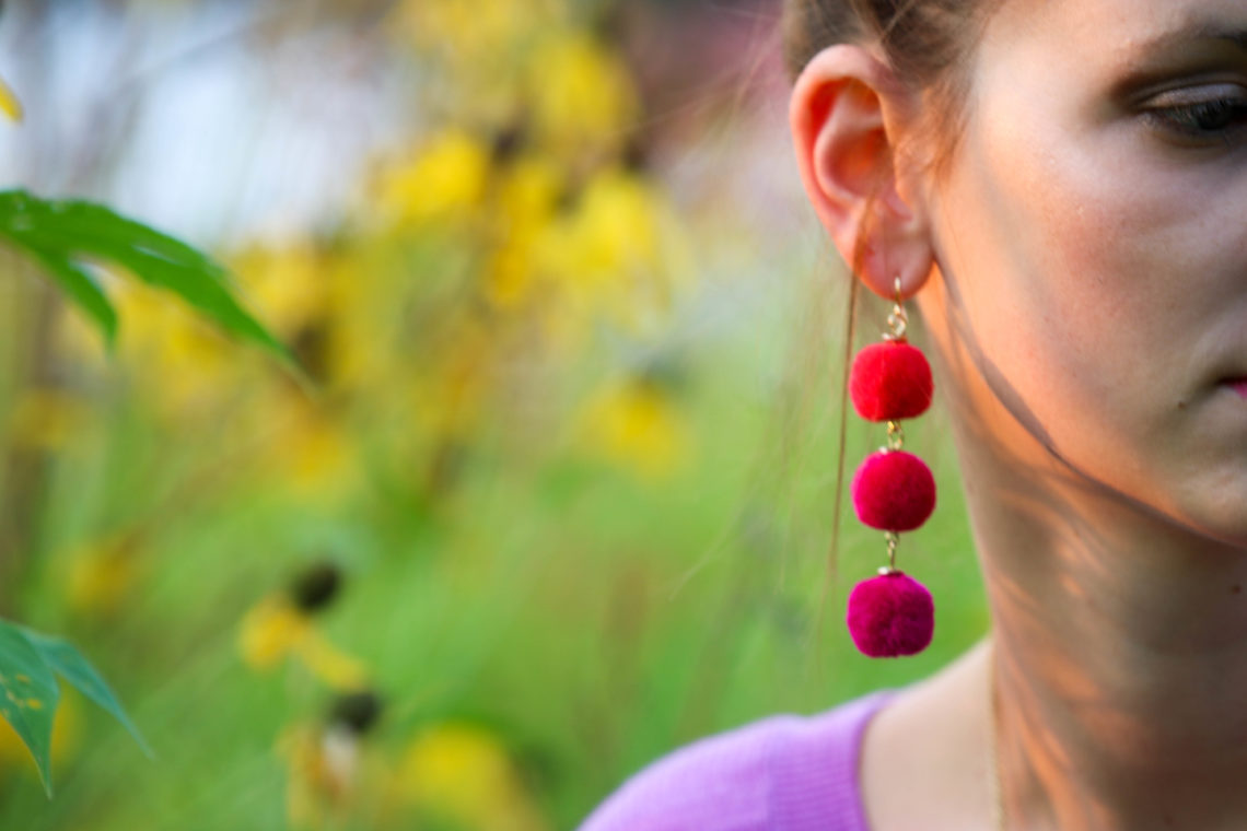 for the love of glitter, pom pom earrings
