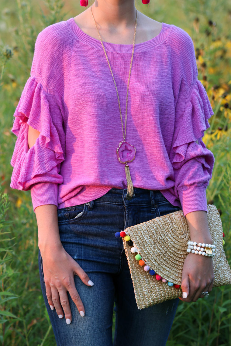 for the love of glitter, ruffle sweater, druzy necklace, pom pom clutch