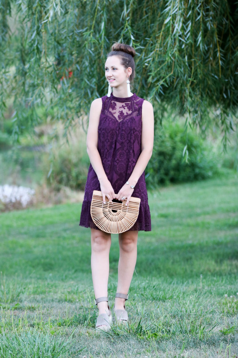 for the love of glitter, lace dress, purple dress, wedding attire, summer style