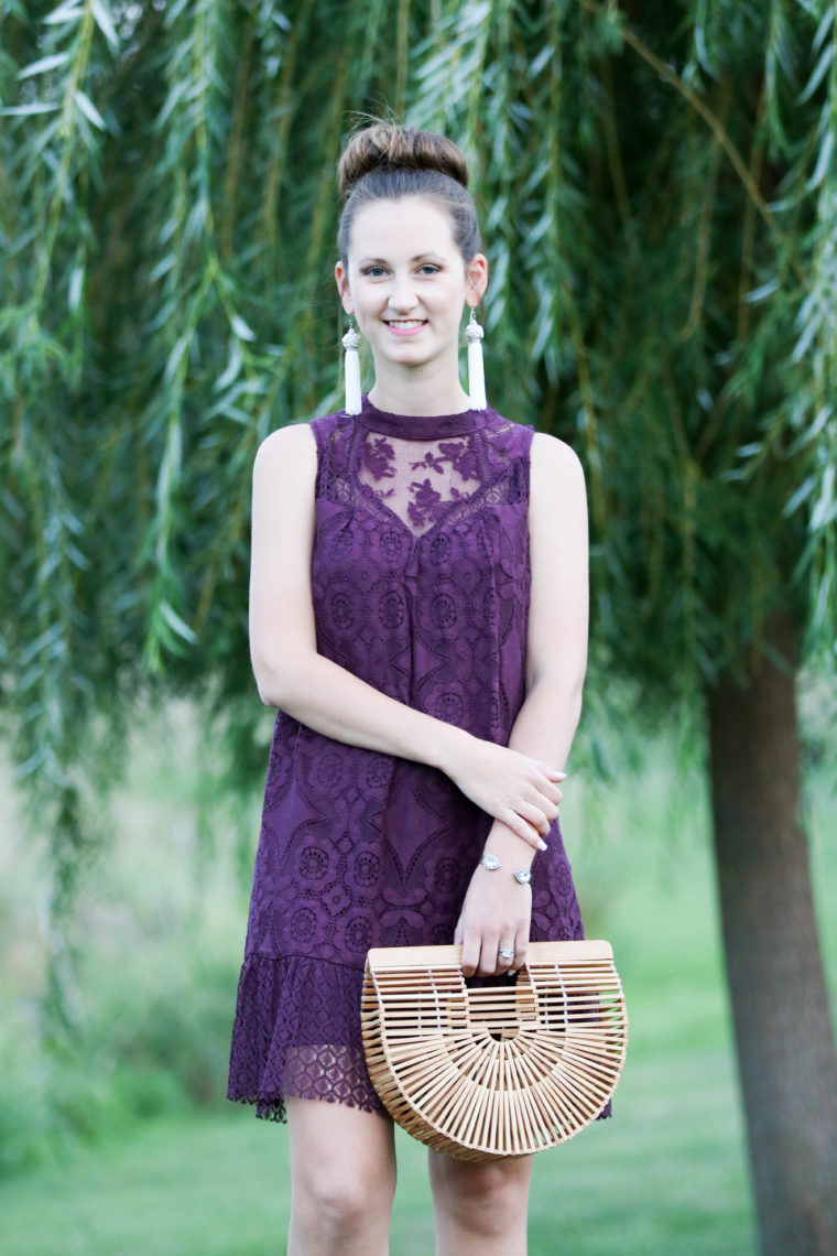 for the love of glitter, lace dress, purple dress, summer style, bamboo bag, Cult Gaia bag