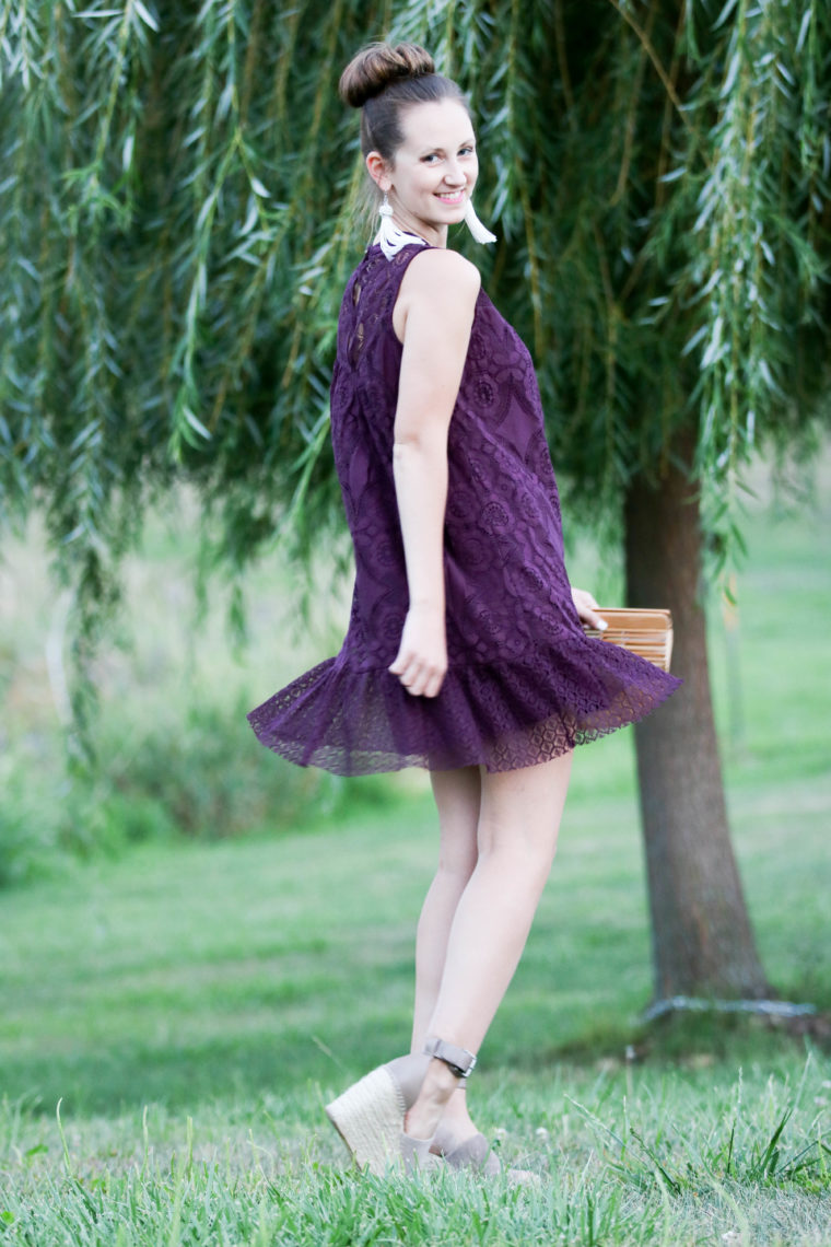 Dark Purple Lace Dress