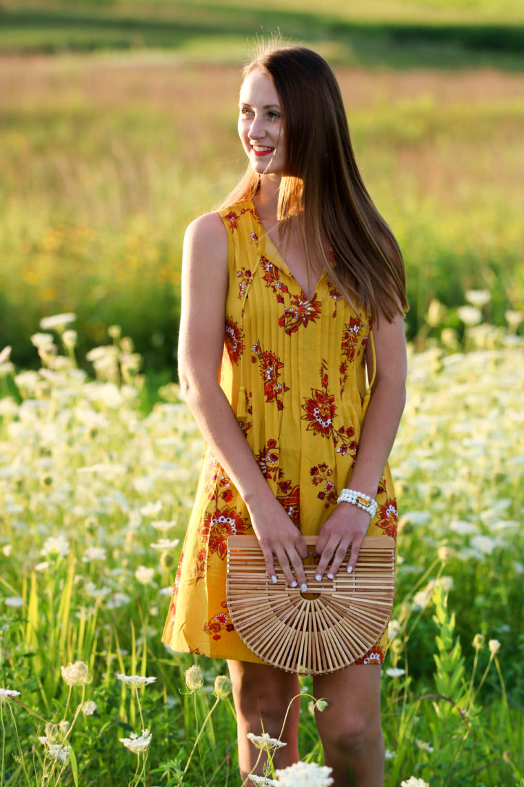 Yellow Print Swing Dress