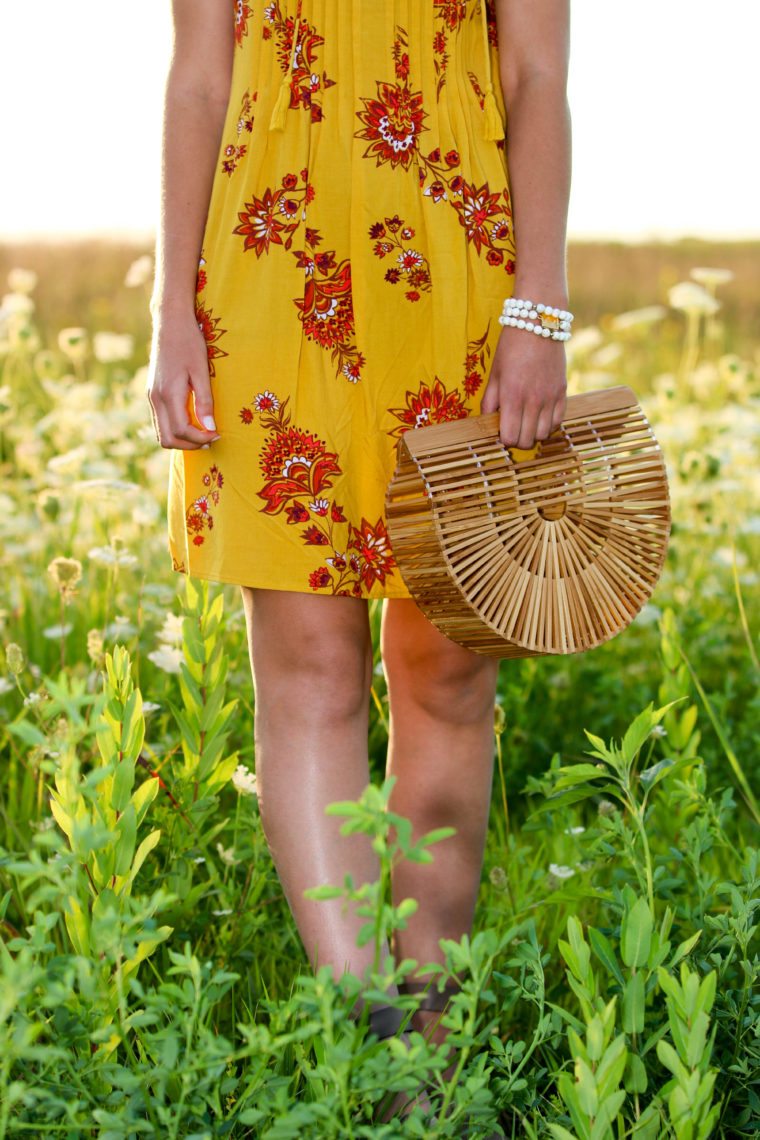 for the love of glitter. swing dress, Cult Gaia bag, bamboo bag, flower field
