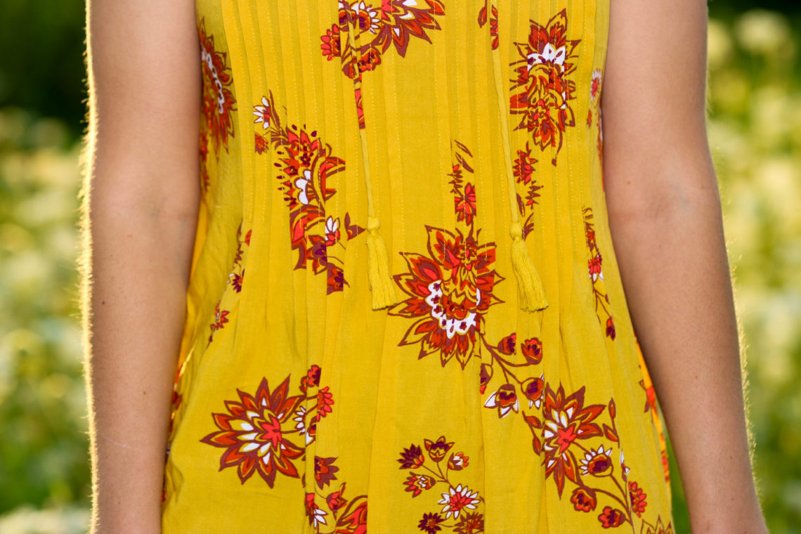 for the love of glitter, printed dress, swing dress, summer style, women's fashion