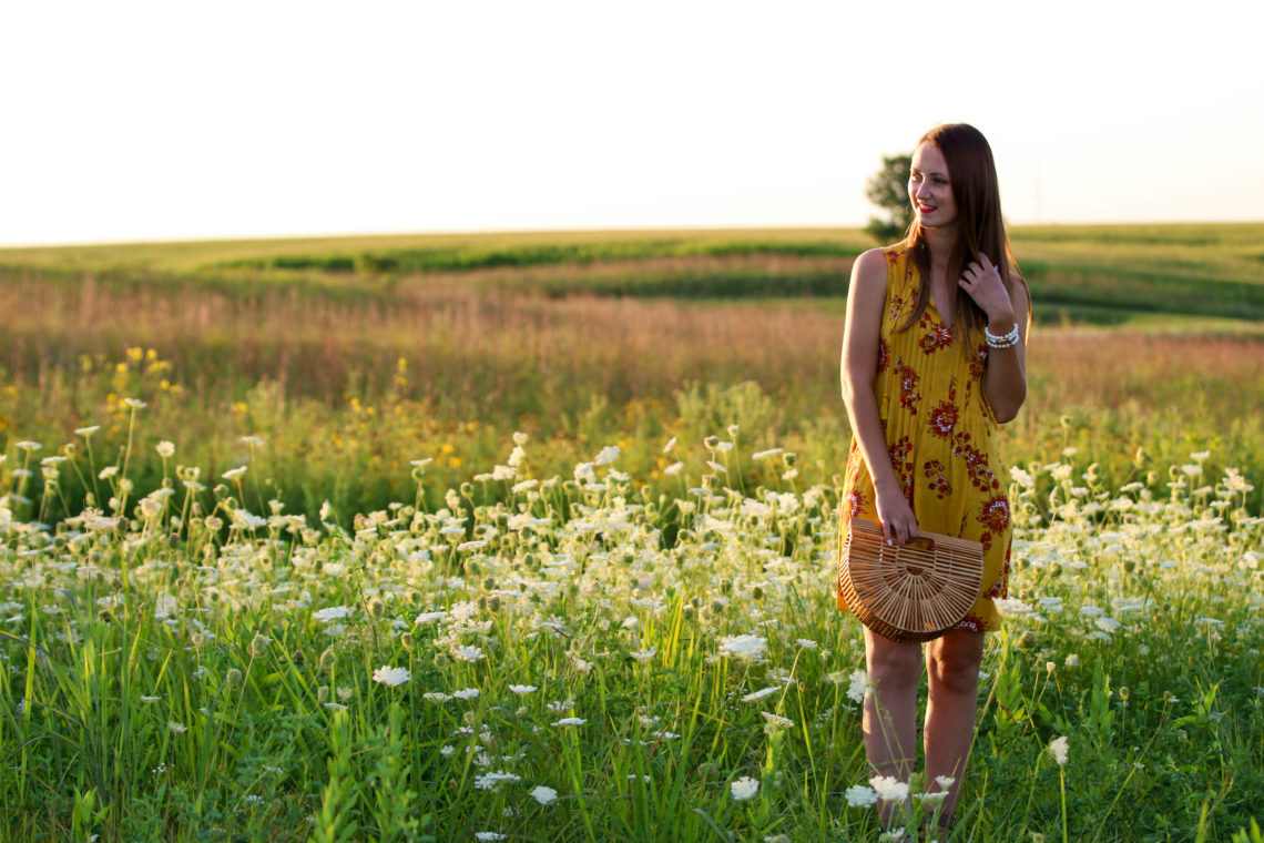 for the love of glitter, printed dress, wild flower field, summer style