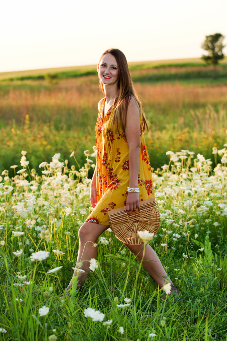 for the love of glitter, yellow dress, flower field, summer style, bamboo bag