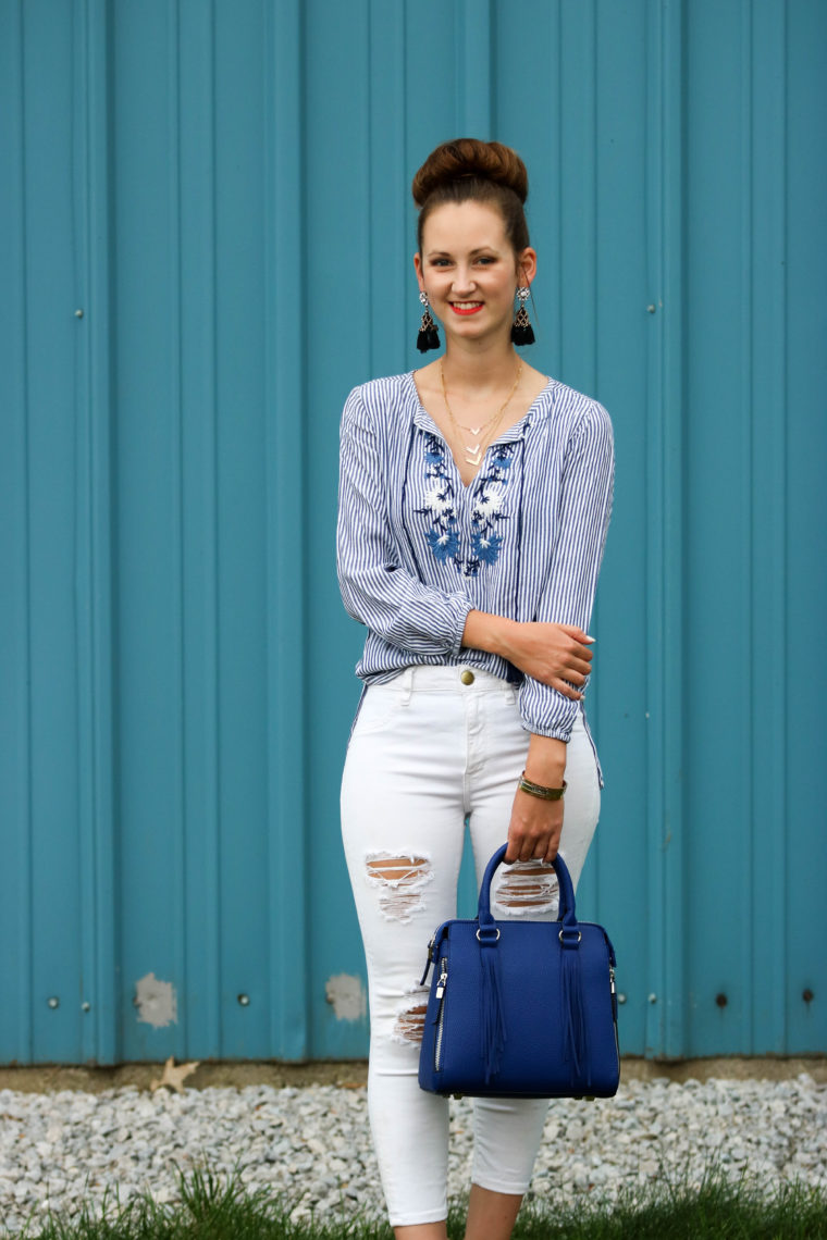 for the love of glitter, embroidered top, blue bag, tassel bag