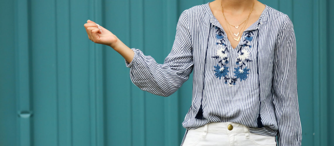 Striped Embroidered Tassel-Tie Tunic